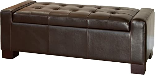 Best Guernsey Brown Leather Storage Ottoman Bench - the best ottoman chair for the money