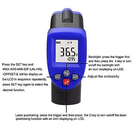 Termometro laser, Termómetro Infrarrojo Eventek Digital Laser IR Sin Contacto, Pistola de Temperatura -50°C~ 550°C (-58°F~ 1022°F) (azul): Amazon.es: ...