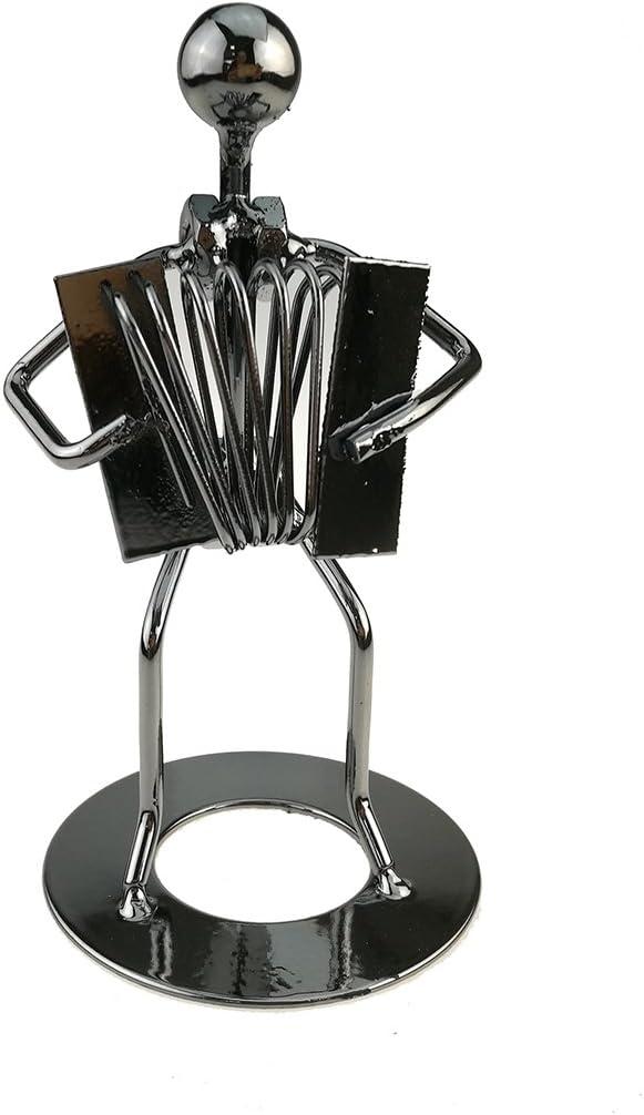 Vintage Iron Art Steel Music Man Figure Performer Home Bedroom Bar Display Decoration Ornament Birthday Gift (C49 Accordion)