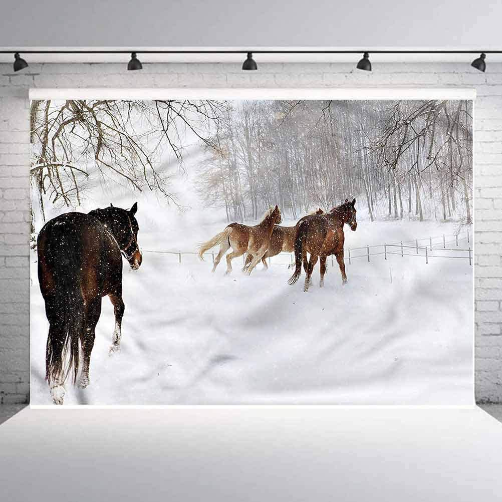 6x6FT Vinyl Photo Backdrops,Winter,Horses in Snowy Forest Background for Selfie Birthday Party Pictures Photo Booth Shoot