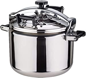 Pressure cooker 304 stainless steel thickened explosion-proof pressure cooker cooker commercial hotel gas-fired induction cooker general 22L, 30L, 40L (Color : Silver, Size : 22L)