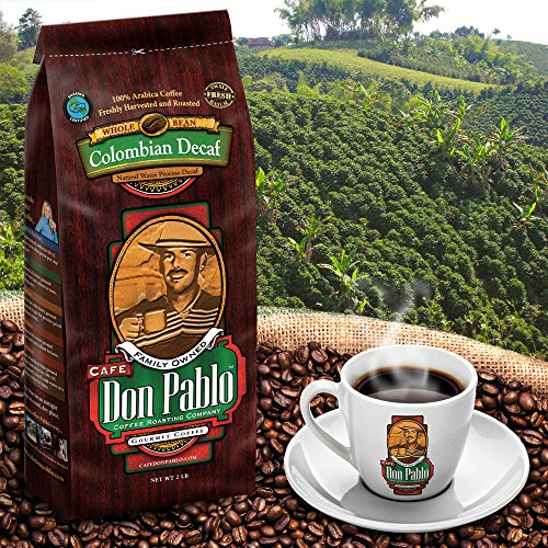 2LB Cafe Don Pablo Decaf Swiss Water Process Colombian Gourmet Coffee Decaffeinated - Medium-Dark Roast - Whole Bean Coffee - 2 Pound (2 lb) Bag