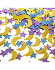 Glitter Paper Confetti Star and Moon for Table Wedding Birthday Eid Party Decoration, 1.2 inch in Diameter (Gold,Purple,Blue Glitter,200pc)