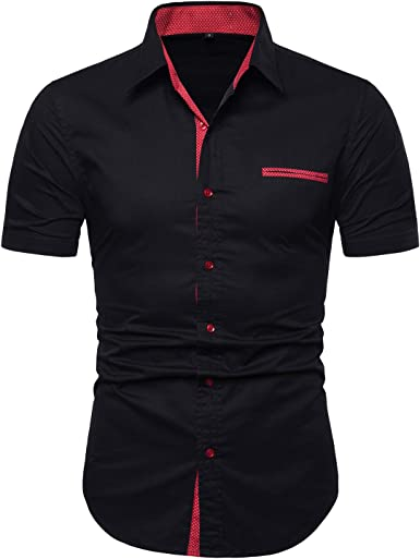 SELX Men Cotton Linen Short Sleeve Contrast Button Up Shirts with Pocket