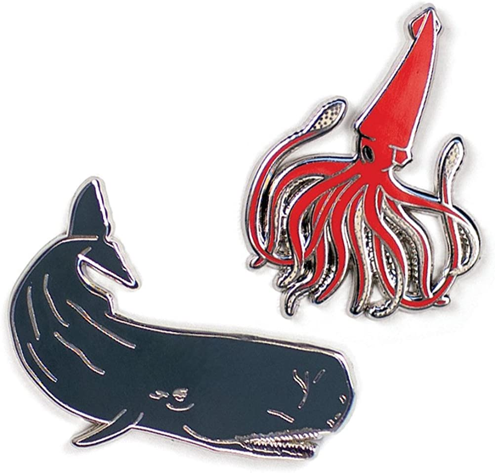 The Unemployed Philosophers Guild Squid and Whale Enamel Pin Set - 2 Unique Colored Metal Lapel Pins