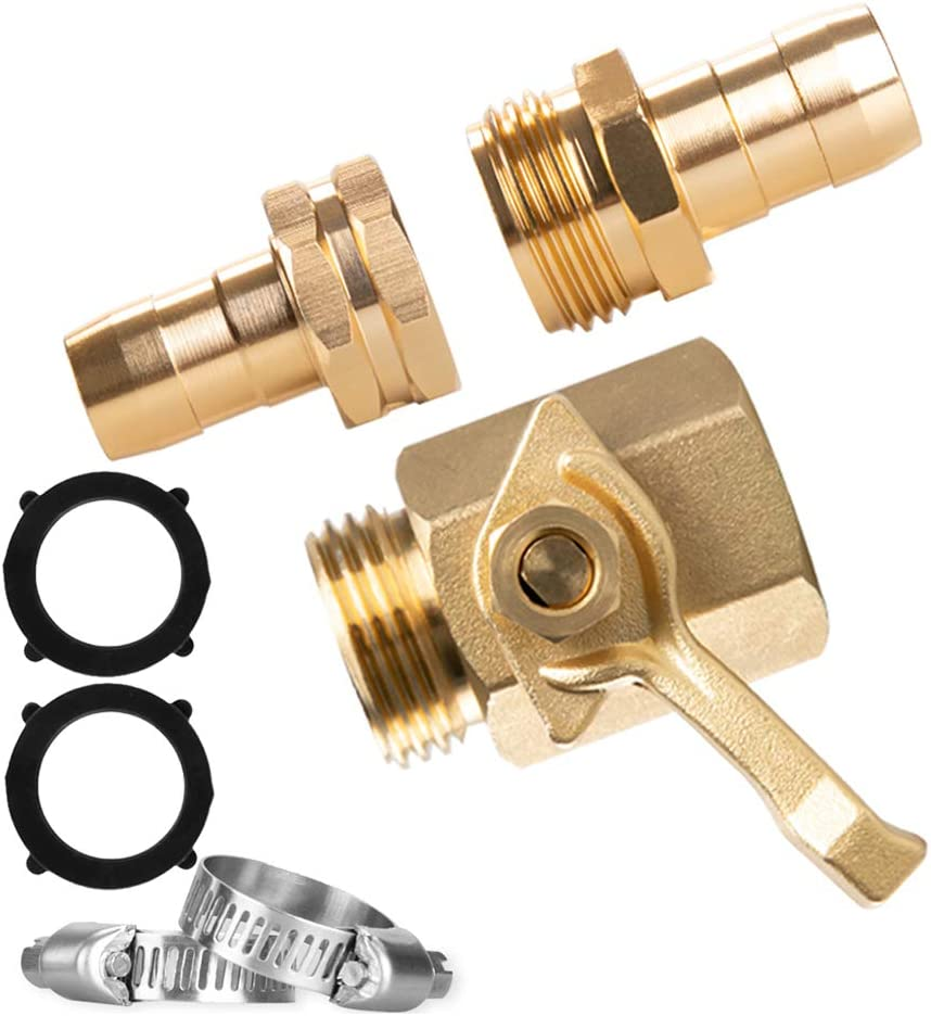 Alanfox 3/4 Inch Durable Heavy Duty Brass Garden Hose Shut Off Valve with 2 Pcs Female Male Hose Mender End + 2 Pcs Stainless Steel Clamp, Easy and Securely Installs to Connect for Garden Hose