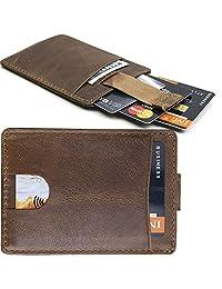 Slim Leather Wallet for Men - Front Pocket Thin Card Holder wallets Minimalist RFID Blocking, Platinum Hanger, Desert Brown