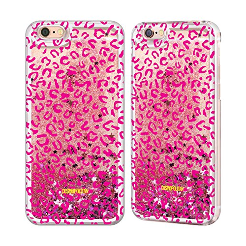 Official Cosmopolitan Pink Leopard Animal Skin Patterns Pink Liquid Glitter Case Cover for Apple iPhone 6 / 6s