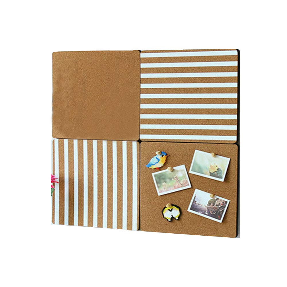 4 Pack Square Cork Tile,9 x 9'' Mini Bulletin Board with 3M Adhesive,Pin Board for Wall,Picture,Note (Cork Square Board) my's
