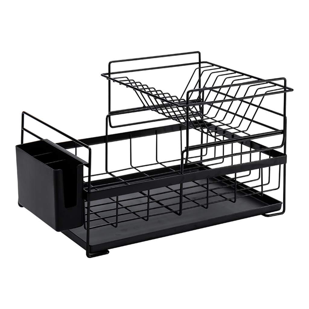 LWT クリエイティブキッチン排水ラック、シンクプレートホルダーテーブルウェア収納ラック2段式食器洗浄機41.5 * 16.4 * 26.8cm B07S2H675R