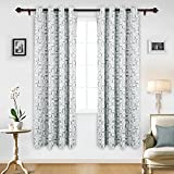 Deconovo Room Darkening Curtain Thermal Insulated Window Drapes Grommet Top Curtains for Bedroom 52W x 84L Inch with Printed Square Pattern Grey 2 Panels