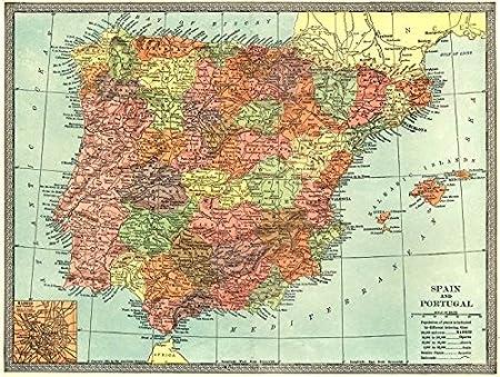 Iberia. España y Portugal. – Madrid – Plan 1907 color mapa antiguo – diseño de mapa antiguo – Vintage Map – Mapas de España: Amazon.es: Hogar