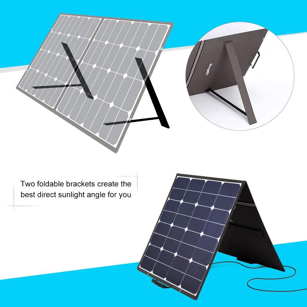 BougeRV 100 Watt 18V 12V Solar Panel SunPower Cell Solar Charger Foldable Portable Dual Output (5V/2A USB + 18V/5A DC), 10 Laptops Connectors Suitable for Smartphones, Tablet, Generator, RV, Boat by BougeRV (Image #2)
