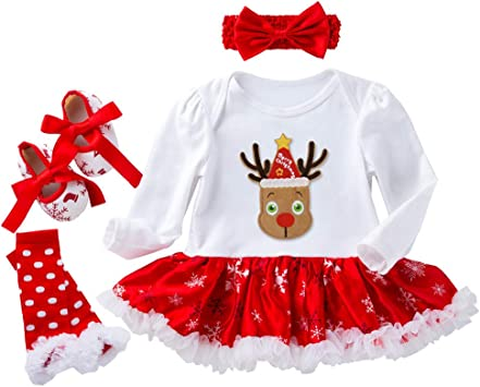 Christmas Newborn Baby Kids Girls Cartoon Deer Princess Romper Bodysuit Clothes