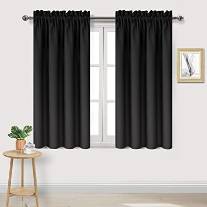 DWCN Black Blackout Curtains for Bedroom –Rod Pocket Thermal Insulated Room  Darkening Drapes for Living Room, W 42 x L 54 Inch, 2 Panels