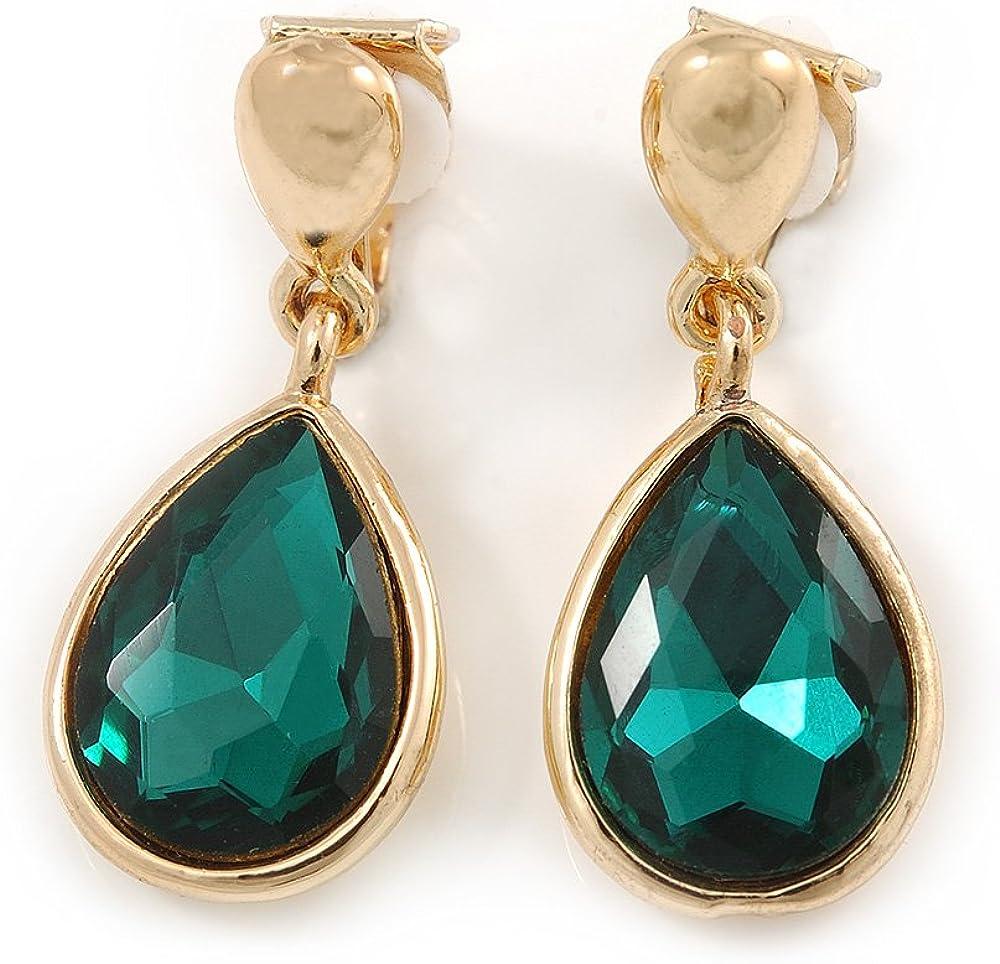 Pendientes de lágrima verde esmeralda con piedra facetada de cristal de color dorado, 35 mm de largo