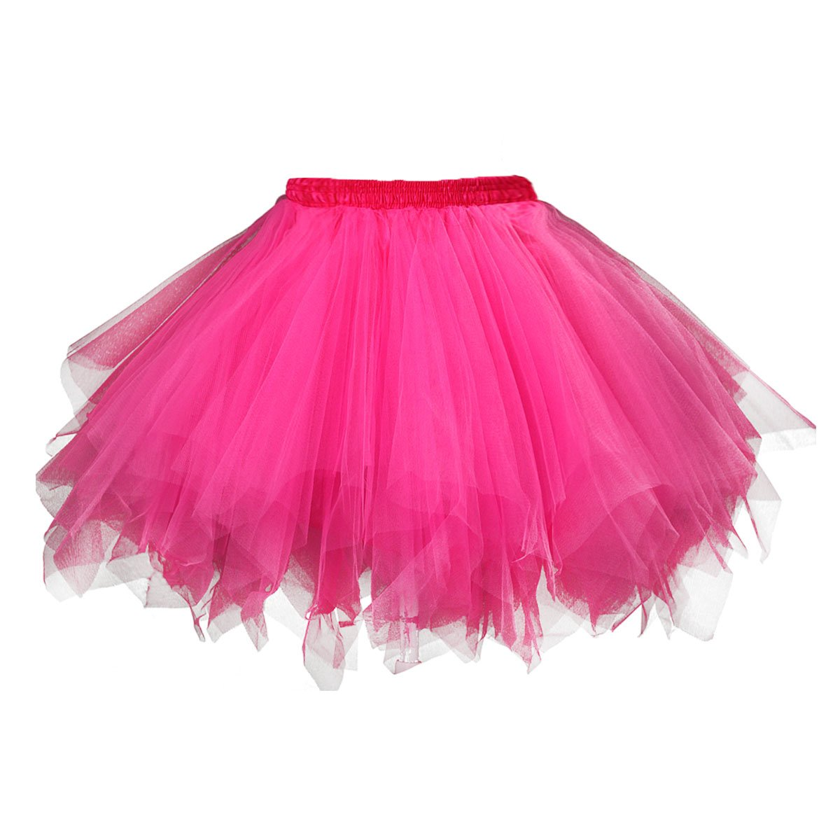 Topdress Women's 1950s Vintage Tutu Petticoat Ballet Bubble Skirt (26 Colors) Fuchsia XL