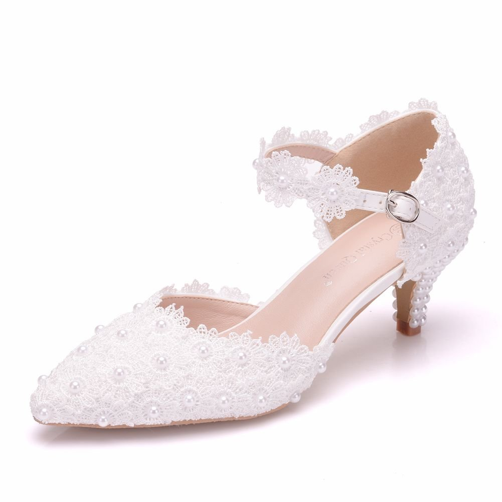 Crystal Queen Women High Heels Sandals White Lace Pearls Wedding Shoes Pointed Toe Bridal Shoes (40 M EU / 8.5 B(M) US, White 2(5.5CM))