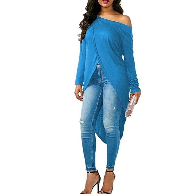 Longshirt Mujer Elegante Primavera Otoño Camisa De Manga Larga Off Shoulder Asimetricas Pullover Sweater Blusa Ropa