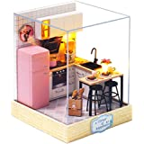 CUTEBEE Dollhouse Miniature with Furniture, DIY Dollhouse Kit Plus Dust Proof, 1:24 Scale Creative Room Idea(Taste of Life)