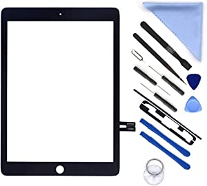 "Black Digitizer Repair Kit for iPad 9.7"" 2018 iPad 6 6th Gen A1893 A1954 Touch Screen Digitizer Replacement (Without Home Button,Not Include LCD) +Pre-Installed Adhesive + Tools"