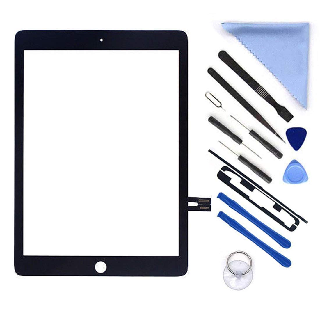 Black Digitizer Repair Kit for iPad 9.7'' 2018 iPad 6 6th Gen A1893 A1954 Touch Screen Digitizer Replacement (Without Home Button,Not Include LCD) +Pre-Installed Adhesive + Tools