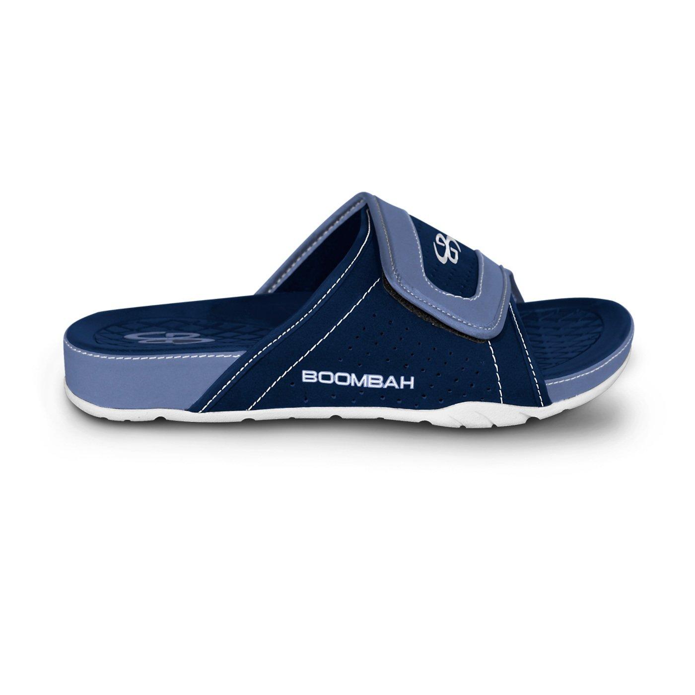 Boombah Men's Tyrant Slide Sandals - 32 Color Options - Multiple Sizes B077NL7V9Q 13|Navy/Columbia