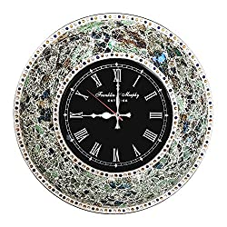 DecorShore 22.5 Mosaic Wall Clock, Decorative Round Wall Clock (Fired Jade / Silver)