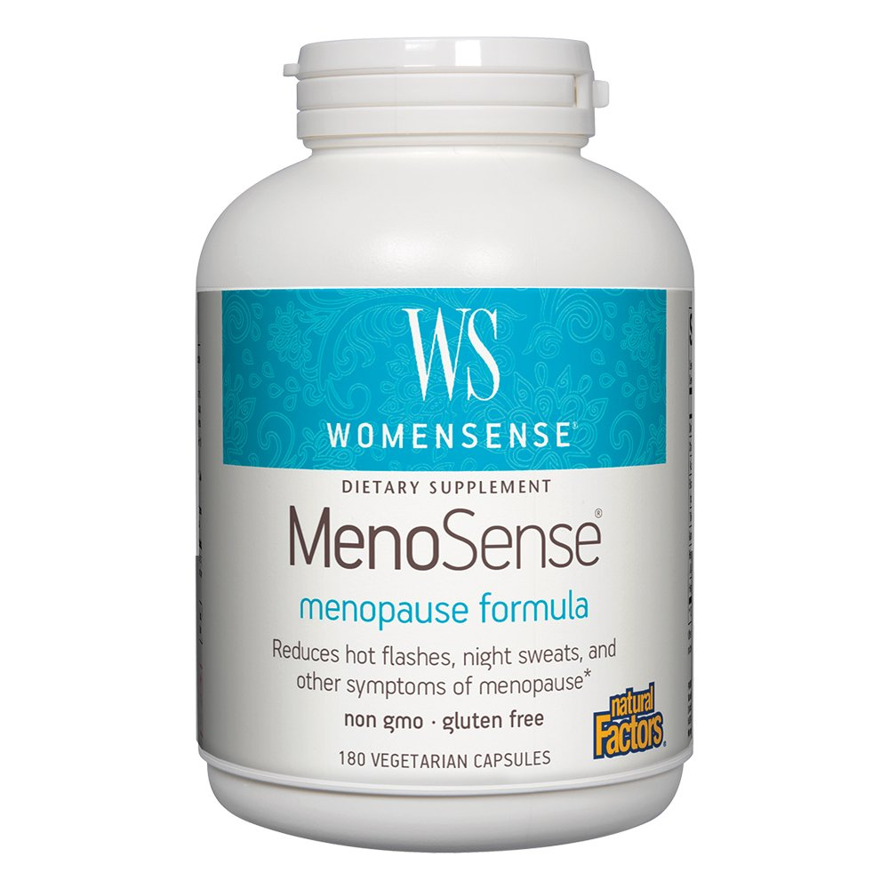 Natural Factors - WomenSense MenoSense Menopause Formula, Natural Support for Hot Flashes & Night Sweats, 180 Vegetarian Capsules