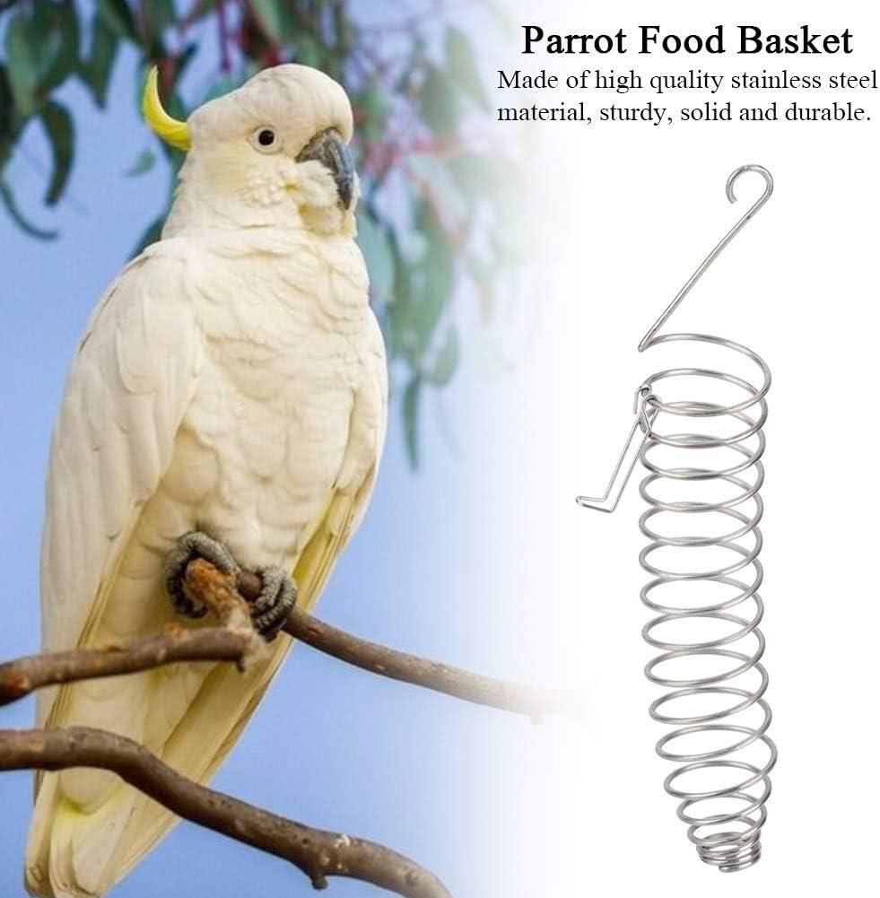 Stainless Steel Parrot Birds Food Basket Toys Wheat Ear Fruit Vegetables Feeder