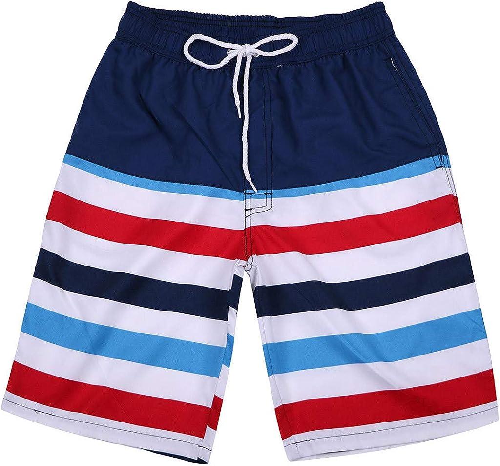 Naladoo Stripe Print Beach Shorts Mens Swimming Pants Casual Surf Sport Shorts