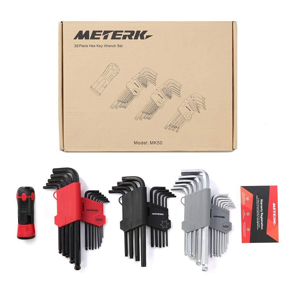 Meterk 36Pcs Hex Key Allen Wrench Set, Inch/Metric/Star, Long Arm Ball End Hex Key Socket Head Screw Wrench Multi-size Internal Hexagonal Spanner, Bonus Free Strength Helping T-Handle by Meterk (Image #9)