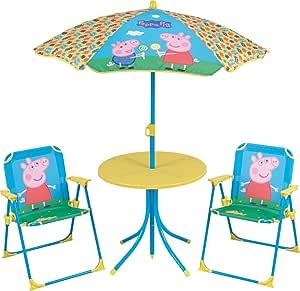 FUN HOUSE 712263 - Juego de Mesa y sillas de jardín para niños, plástico rígido, diseño de Peppa Pig, 46 x 46 x 46 cm: Amazon.es: Jardín
