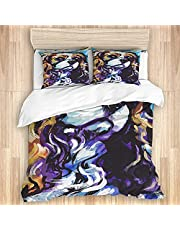 Duvet Cover King Size 104x88 inches,Cherry Blossom Pink Floral Flower Asian Style Artwork with Painting Effect,3pcs Ultra Soft Quilt Cover Set with Zipper Closure