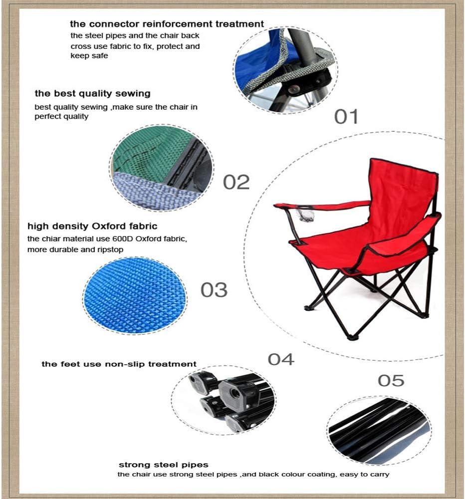 ASDFGHJKL Camping en Plein air Chaise, Chaise Pliante Portable, Cadre en Acier Extra Large Fauteuil rembourré Pliable, utilisé pour Sport, Randonnée, Plage Barbecue,Bleu