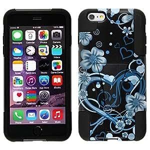 Trek Hybrid Stand Case for Apple iphone 4 4s - Sketch Hearts Blue on Black
