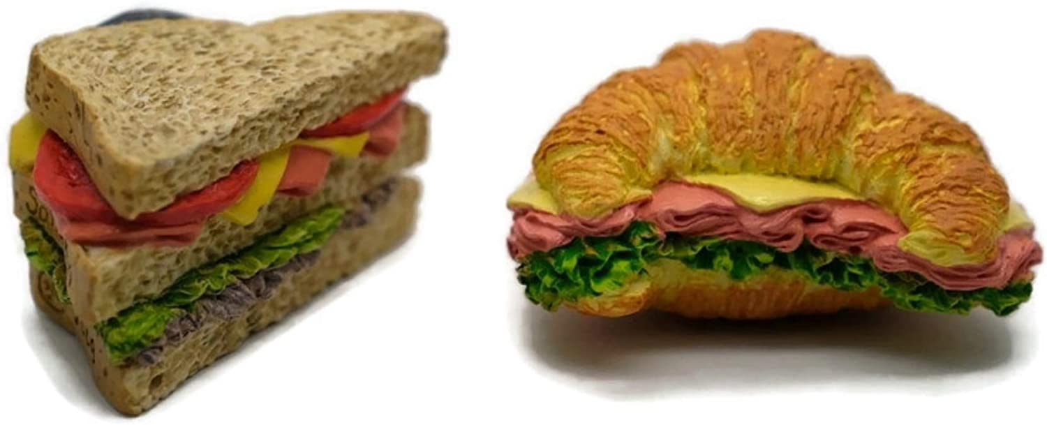 Vintage Magnet Mix Classic and Croissant Sandwich Bread Recipe Fast Food Dollhouse Miniature Kitchen Food Supply
