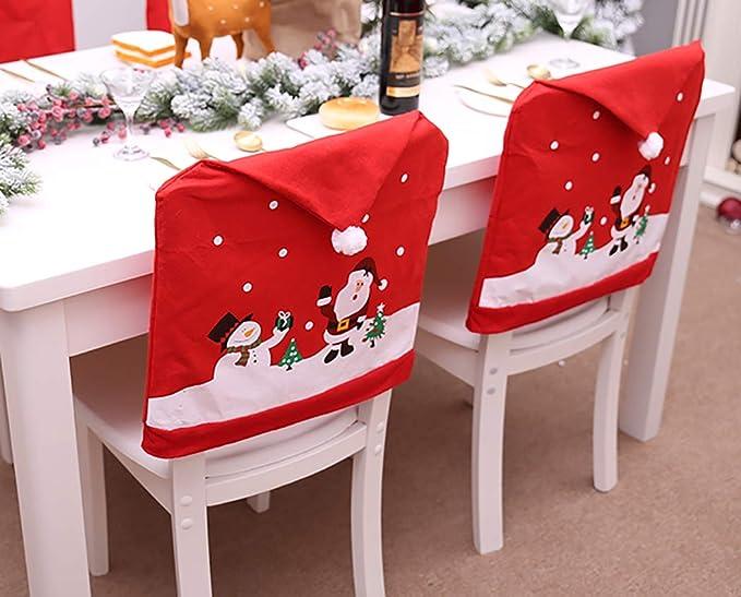 Bageek Cubierta De La Silla De Navidad, Creativo Lindo Muñeco De Nieve Claus Cubierta De La Silla Fiesta En Casa Cena Cocina Mesa De Comedor Asiento Trasero ...
