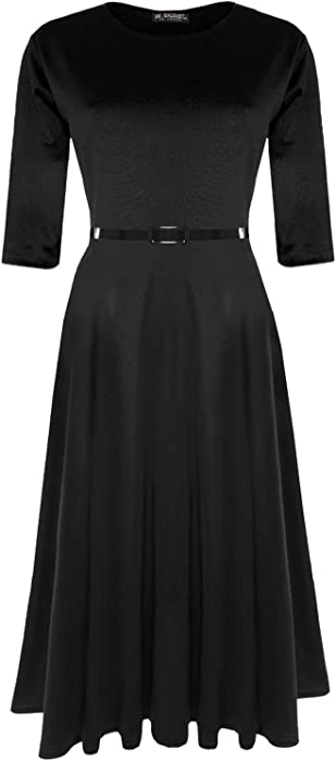 Plus Size Ladies Womens Flared Franki 3//4 Sleeves Belted Skater Midi Swing Dress