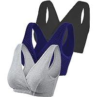 Vellette Sujetador Premamá De Lactancia algodón Sujetadores Lactancia Mujer V-Neck Camiseta sin Mangas For Dormir Deporte Yoga(3Pcs)