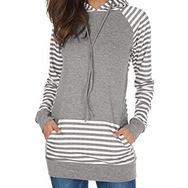 c4a681e109fd95 BCDshop Womens Stripe Patchwork Sweatshirt Pullover Long Sleeve T-Shirt  Hooded(Gray,L