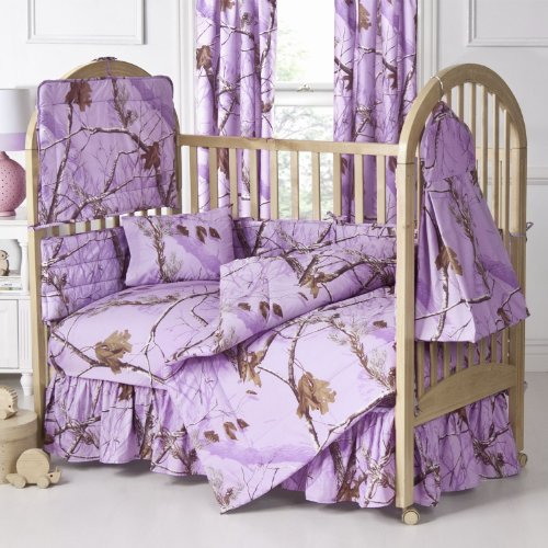 AP Lavender Camo 6 Pc Crib Set & Set of TWO Valance/Drape Sets includes (Crib Fitted Sheet, Crib Bumper Pad, Crib Headboard Pad, Crib Comforter, Crib Bedskirt, Diaper Stacker, 2 Valance/Drapes Sets) ()