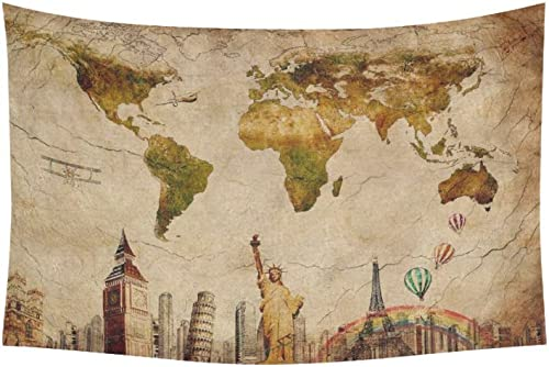 INTERESTPRINT Globe Decor, Vintage Retro World Map and Statue of Liberty Tapestry Wall Hanging Art Sets 60 X 40 Inches