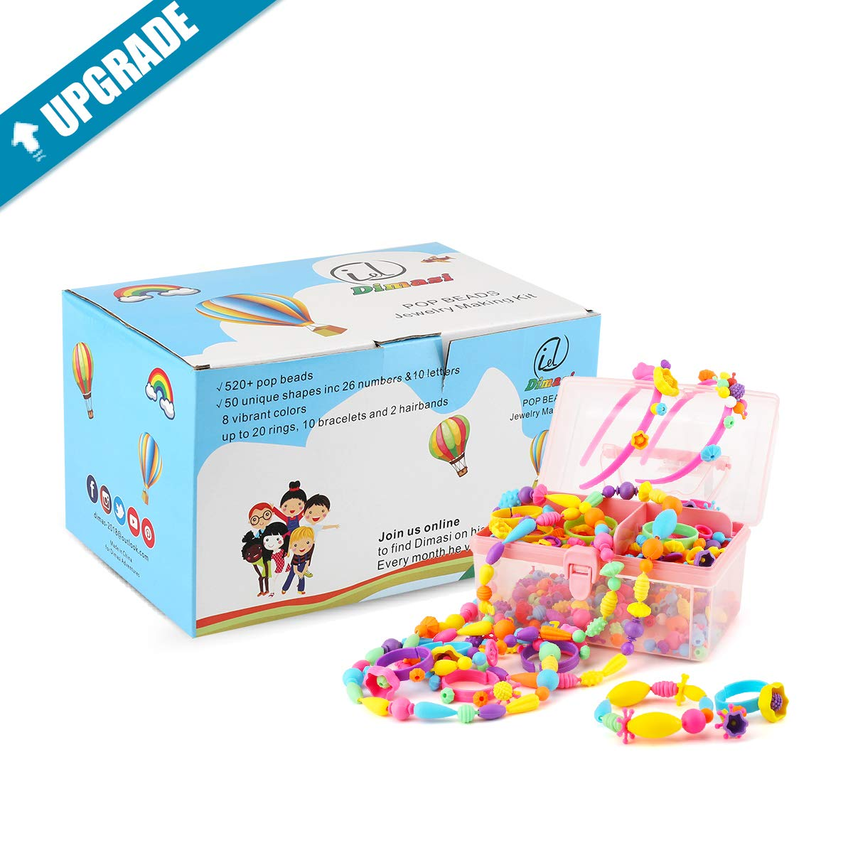 520PCS Pop Snap Bead DIY Jewelry Set Toys for Toddler Pop Arty Beauty Pops Craft Beads Jewelry Making Kit for Kids Making Necklace,Bracelet and Ring Kids Christmas Birthday Gifts Pop Beads