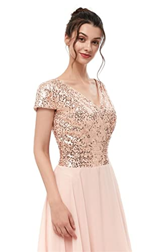 Dannifore Rose Gold Cap Sleeve Empire Waist Formal Evening Gowns Long Women Bridesmaid Dress, Size 14 at Amazon Womens Clothing store: