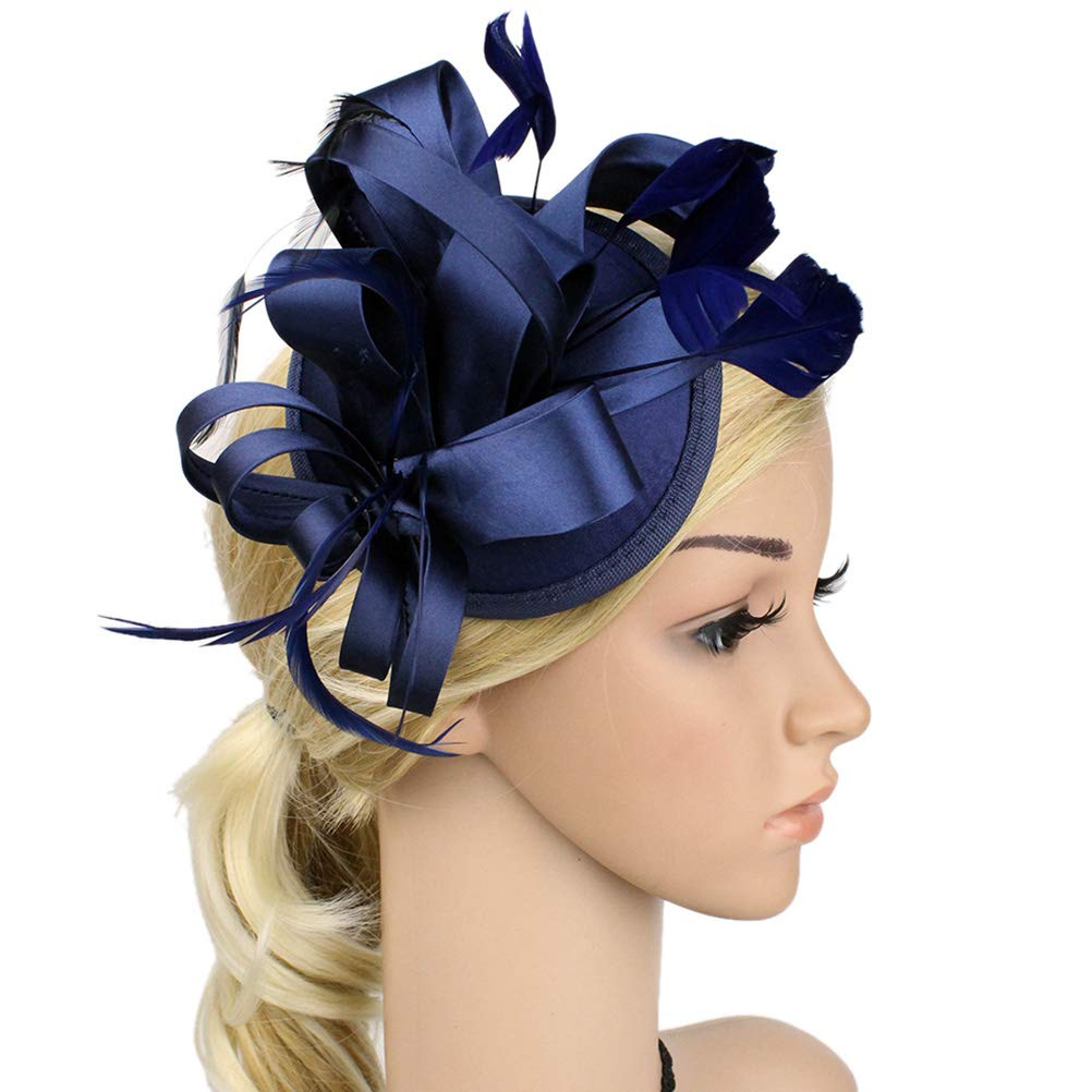 Chiyou Feather Fascinators Womens Pillbox Flower Derby Hat for Cocktail Ball Wedding Church Tea Party