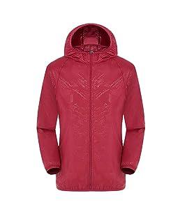 Men's Women Hooded Jackets Windproof Lightweight Packable Raincoat Windbreaker Top for Outdoor, Camping Red