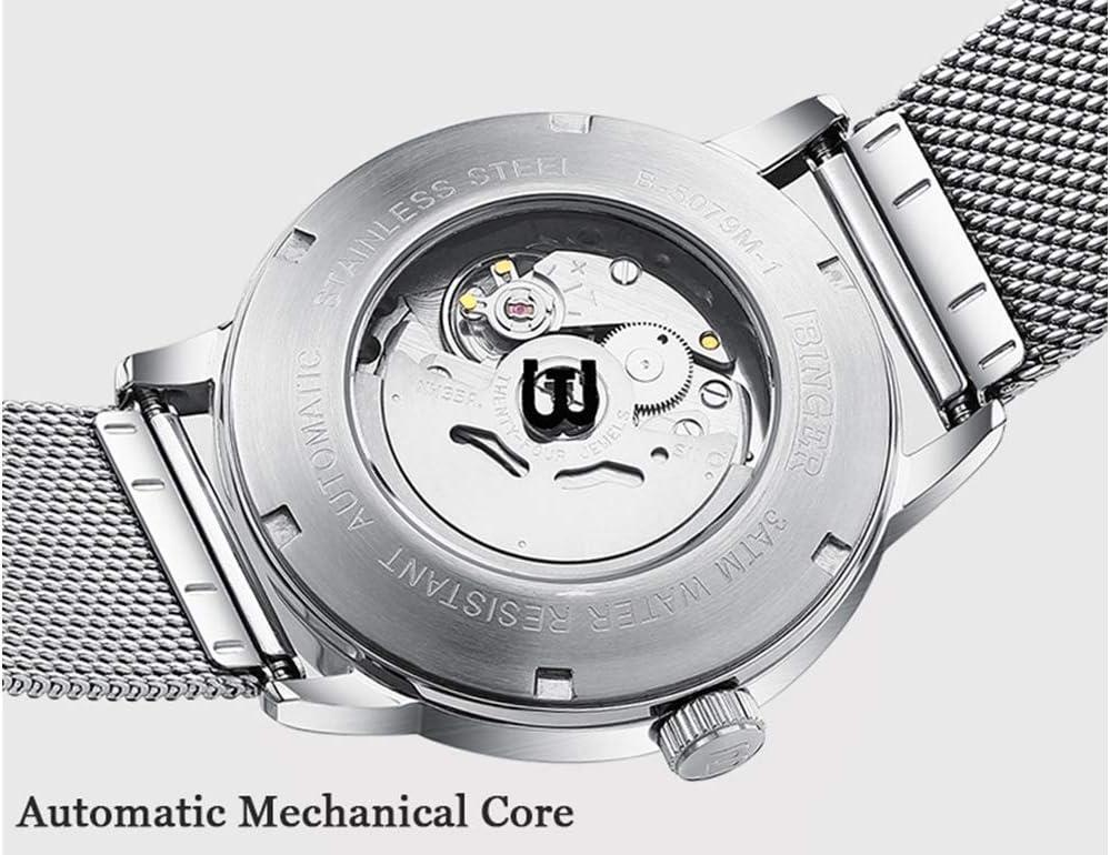 FAPROL-BINGER Mechanische Uhr Männer, Minimalistische Armbanduhr Mit Kalenderanzeige Und Wasserdichten Details Edelstahlband Black