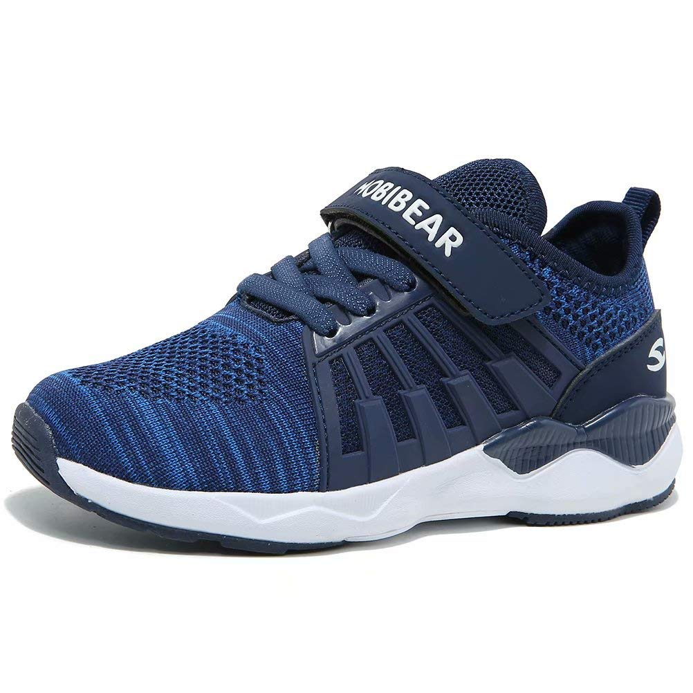 HOBIBEAR Boys Knit Running Shoes Breathable Lightweight Mesh Athletic Sneakers-Blue