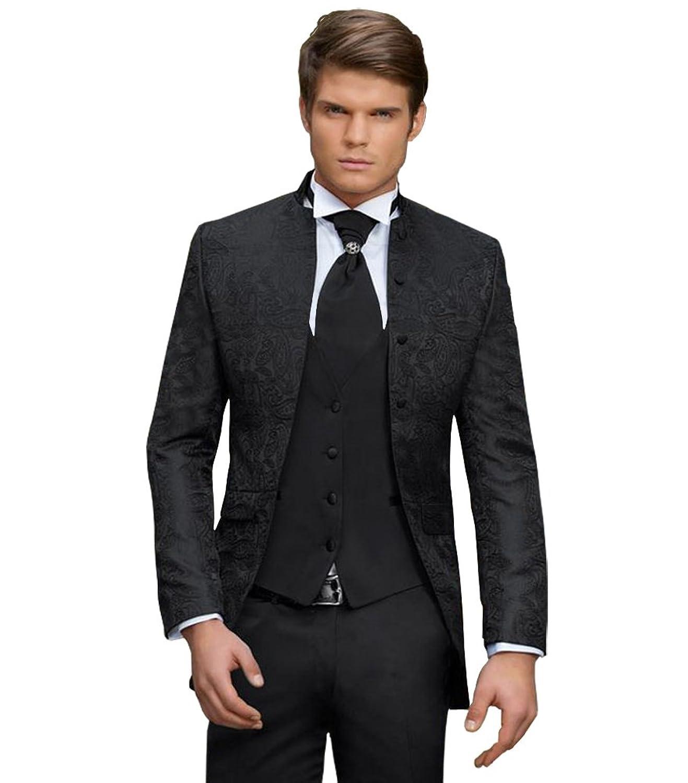 Innenarchitektur Herren Hochzeitsmode Das Beste Von Anzug - 8 Teilig - Schwarz Paisley